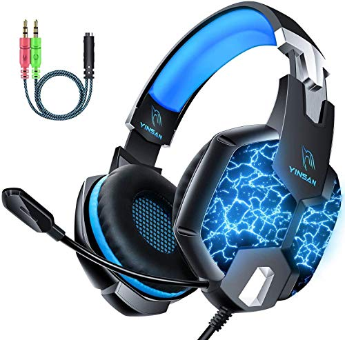 DM Gaming Headset, 7.1 Stereo Surround & 7 Colors LED Light Gaming Headset, Soft Memory Earmuffs Gaming Headphones with Noise Canceling Mic Compatible with PC/PS5/PS4/Xbox One/Switch