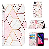 Voanice for iPhone 7 Case,iPhone 8 Wallet Case,iPhone SE 2020 Case,PU Leather Wallet Marble Case Flip Cover with Card Holder Slots Magnetic Kickstand Wrist Strap for for iPhone 7/8/SE 2020-Pink White