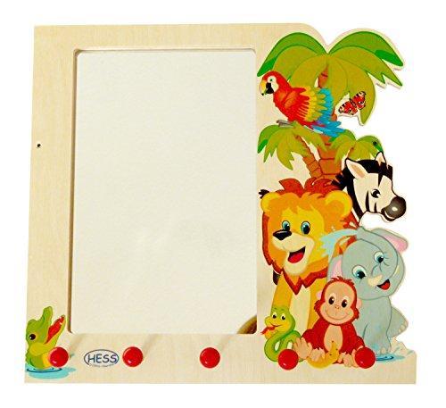 Hess Holzspielzeug 30500 - Garderobe aus Holz, Motiv Dschungel, mit Wandspiegel und Haken, für Kinder, ca. 37 x 35 x 8 cm, handgefertigt, als Blickfang in jedem Kinderzimmer und Flur