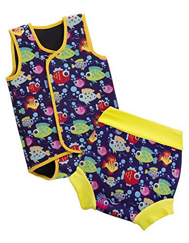 BabaTastic Cartoon Fish Baby und Kleinkind Body Warmer und Schwimmwindel Set Kinder Neoprenanzug zum Schwimmen Jungen und Mädchen UV-Badeanzug (12-18 Monate)