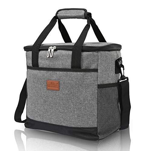 wolketon Kühltasche Faltbar 33L Gross Kühlbox Grau Lunchtasche Premium Thermotasche Cooler Bag wasserdicht isoliert mit 2 kühlakkus für Outdoor Camping Reisen Picknick