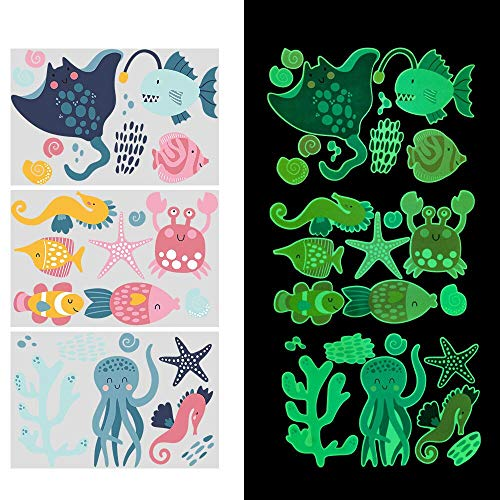 Glow in The Dark Ocean Decals, Luminous Ocean Creatures Wall Stickers, Removable Under The Sea Fish Ceiling Decor, Seaweed Shell Door Decals for Baby Kids Bedroom Nursery