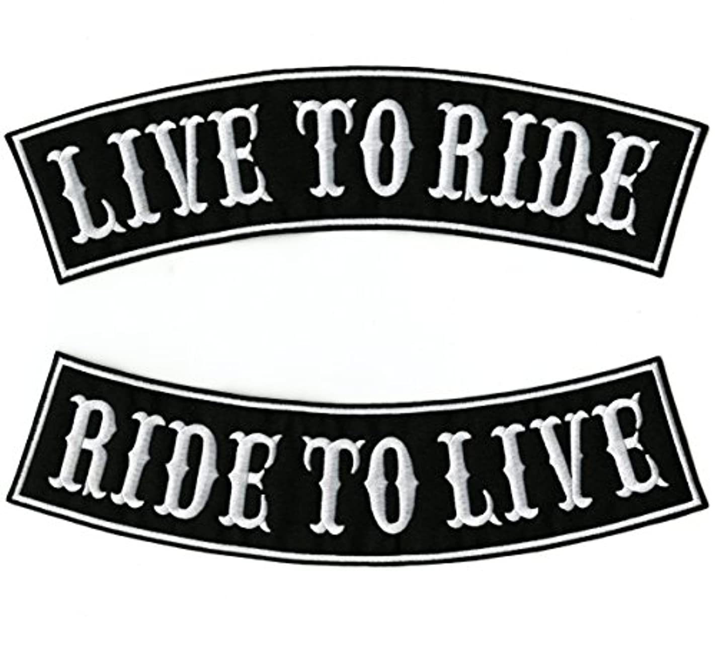 Live to Ride, Ride to Live Rocker Patches | Large Biker Motorcycle Embroidered Patch 2 pc. Set - by Nixon Thread Co. (12