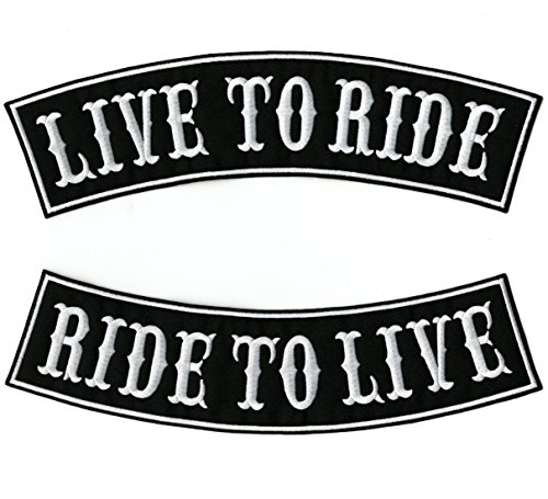 Live to Ride, Ride to Live Rockers   Embroidered Motorcycle Jacket Back Patches   Large - by Nixon Thread Co. (12')