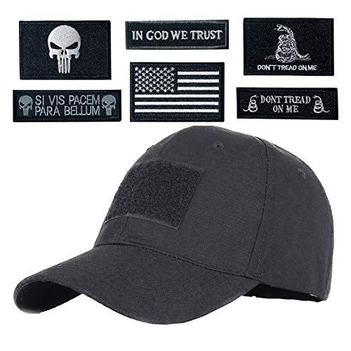Hng Kiang Hu Tactical Hat with 6 Pieces Military Patches Adjustable Operator Flag Hats Cap Army Hats for Men Baseball Cap (Black)