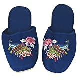 Handmade Embroidered Peacock Chinese Women's Cotton Slippers Blue Red Black Turquoise New (36/US 5.5, Blue)