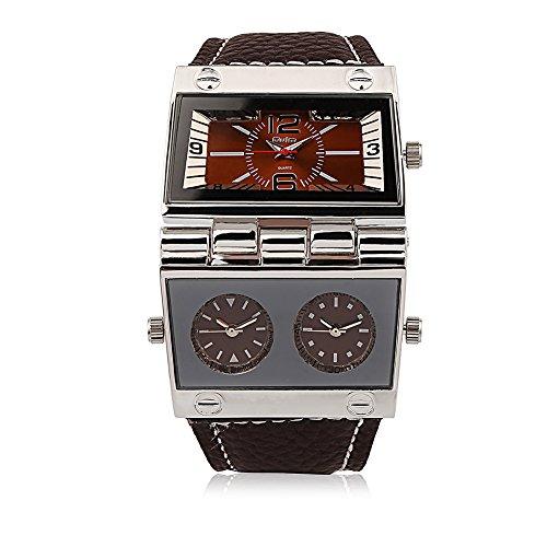 iLove EU Herren Armbanduhr Japanisches Quarz Analog mehrere Zeitzonen Outdoor Freizeit Uhr mit Kaffee Zifferblatt und Leder Armband