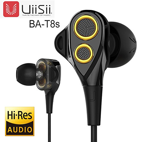 UiiSii T8S HiFi Triple Driver Earbuds Noise Reduction, Deep Bass with Mic Volume Control for iPhone iPad Samsune LG Phones (Black/Gold)