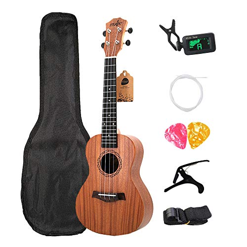 Dasing Kits de ukelele de concierto de 58,8 cm de palisandro, 4 cuerdas, guitarra hawaiana con bolsa, afinador, correa de cejilla y púas, instrumentos musicales para principiantes