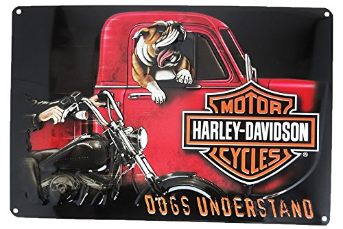 Harley-Davidson Dogs Understand Embossed Tin Sign, 10.5 x 16.5 inches 2011241