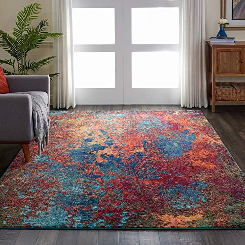 """Nourison Celestial Blue and Red Colorful Area Rug 6'7"""" x 9'7"""", 6'7""""X9'7"""", ATLANTIC"""