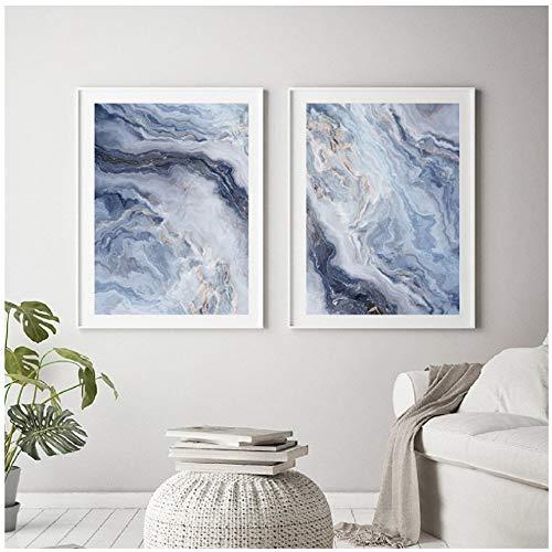 YangMENGDAN canvas schilderij schilderijen canvas 2 panelen sea stijl schilderij kunst posters simpele print modern woonkamer decoratie -50x70cm geen lijst