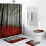 KDOAE Cortina de Ducha Ducha de poliéster Lavable Cortina de Ducha Anti-Fading Cortina de 4 Piezas Set Cortina de Ducha para Ducha (Color : Red, Size : 180x180cm)