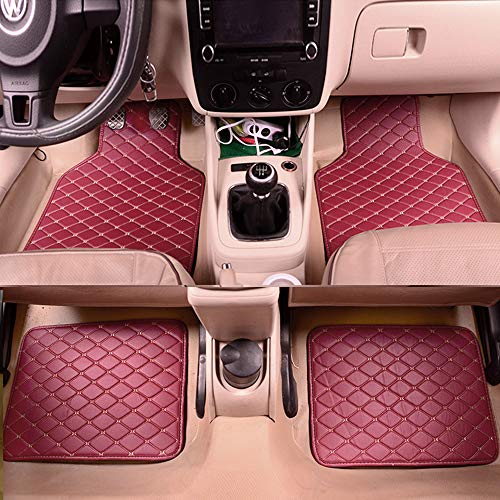 4pcs Leather Floor Mats for Cars SUVs Trucks&Vans Front Rear Non-Slip Mats Universal Fit All Weather Protection Carpet, Wine Red