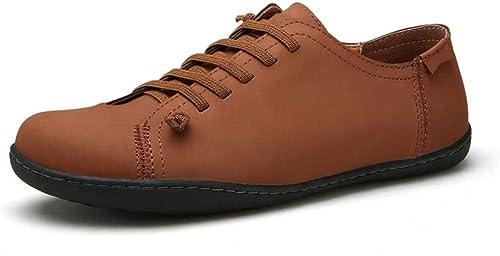 Dhrfyktu Chaussures De Sport en Cuir Chaussures pour Hommes Chaussures Chaussures De Conduite Chaussures Simples Chaussures en Cuir Angleterre (Couleur   Marron Clair, Taille   42)  Dans votre attente