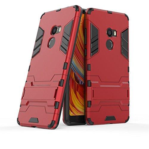 GOGME Funda para Xiaomi Mi Mix 2, Soporte Plegable Case, Rojo