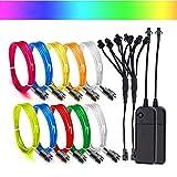 EL Draht Leuchtschnur Kabel Lichtschnur,Super Bright EL Wire Beleuchtung Lichtband für Party...