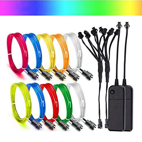 EL Draht Leuchtschnur Kabel Lichtschnur,Super Bright EL Wire Beleuchtung Lichtband für Party Weihnachtsfeier Dekoration