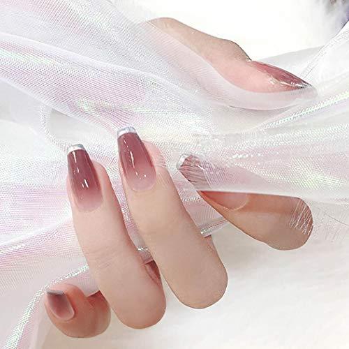 Sethexy Glänzend Ballerina Französisch Falsche Nägel Lange Vollständige Abdeckung Hell-Pink Salon Kunstdesign 24St Falsche Fingernägel für Frauen und Mädchen