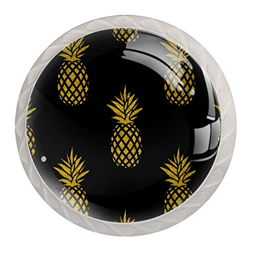 Schubladengriffe ziehen für Home Kitchen Dresser Wardrobe,Nahtlose Sommer Gold Ananas auf schwarzem Hintergrund
