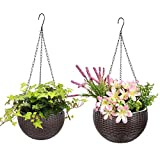 2 Pack Hanging Baskets for Plants - Round Plastic Resin Chain Basket Hanging Planter Hanging Flowers and Plants,Great for Garden Office Home Porch Balcony Indoor Outdoor Use(10.2 Inch and 6.6 Inch)