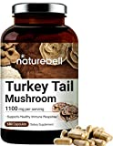 Turkey Tail Mushroom, 1100mg Per Serving, 180 Capsules, Contains 30% Polysaccharide, Powerfully Supports Positive Mood, Mind and Promote Healthy Nervous System and Immune System, Non-GMO