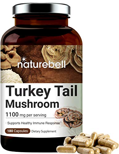 Turkey Tail Capsules (Made with Organic Turkey Tail Mushroom), 1100mg Per Serving, 180 Counts, Powerfully Supports Positive Mood, Mind and Promote Healthy Nervous System and Immune System