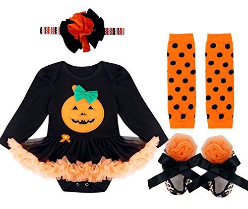 iiniim 4Pcs Déguisement Robe Halloween Cosplay Costume Citrouille Bébé Filles Adorables Romper Manches Longues + Bandeau + Chaussures + Jambières Ensembles 0-12 Mois Orange & Noir 1 0-3 Mois