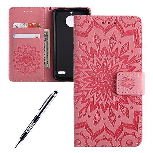 Kompatibel mit Moto E4 Hülle,JAWSEU Sonnenblume Schutzhülle Brieftasche Hülle Leder Tasche Handyhülle LederHülle Flip Case Wallet Tasche Handytasche für Moto E4,Mandala Rose Gold