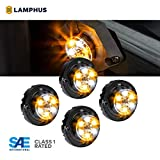 LAMPHUS 4pc SnakeEye III LED Hideaway Strobe Light [SAE Class 1] [IP67 Waterproof] [72 Flash Modes] [TBT Function] Emergecy Warning Lights for Police Fire Construction Vehicle - Amber/White