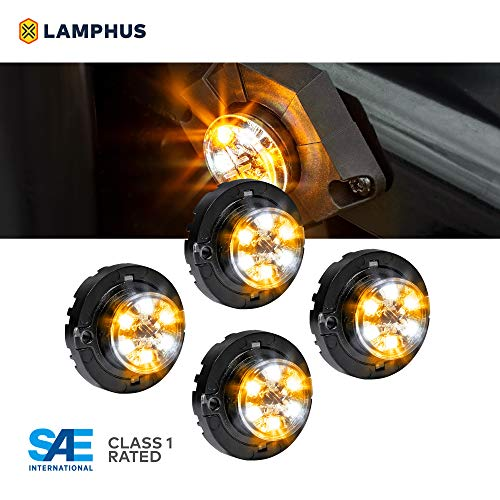 4pc SnakeEye III AMBER WHITE LED Hideaway Strobe Light [SAE Class 1] [IP67 Waterproof] [72 Flash Modes] [Multi Units Sync-able] [Steady Override] Emergency Strobe Warning Police Lights For Vehicles
