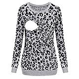 Snakell Still-Shirt/Umstandstop, Schwangeres Stillen Nursing Schwangerschaft Top Umstandsmode Lagendesign Wickeln-Schicht Stillshirt Damen Stilltop Leopard Umstandsshirt Casual Umstandsbluse