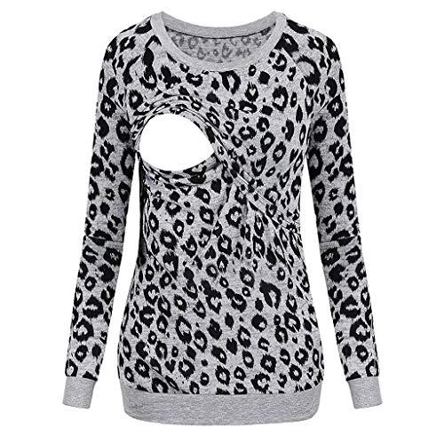 Schwangerschaft Damen Leopard Stillshirt Stilltop, Langarmshirt Mutterschaft Umstandsmode T-Shirt Stillzeit Pullover Bauchfrei Oberteil Stillen Baby Tuniken Bluse Kleidung Umstandspullover