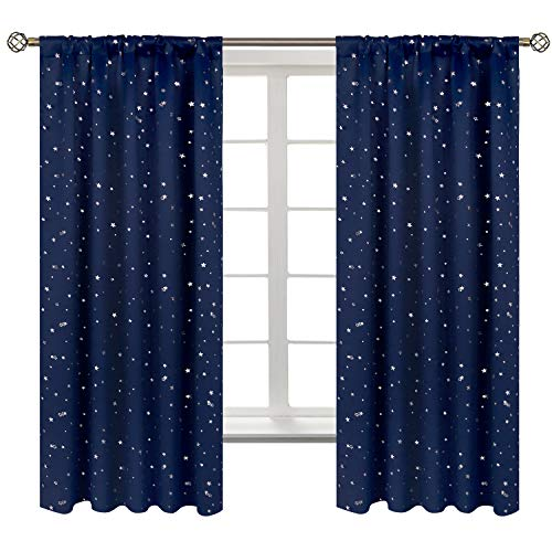 BGment Star Blackout Curtains for Kids Bedroom - Rod Pocket Thermal Insulated Room Darkening Printed Curtains for Living Room, Set of 2 Panels ( 42 x 63 Inch, Navy Blue )
