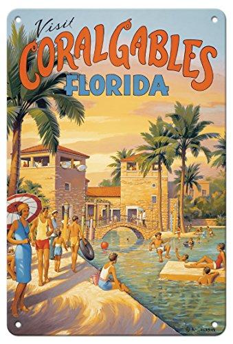 Pacifica Island Art - 22 x 30 cm Metallschild - Besuchen Sie Coral Gables - Florida - Venetian Pool (Historisches US-öffentliches Schwimmbad) - Retro Weltreise Plakat von Kerne Erickson