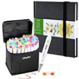 Ohuhu 80 Colors Alcohol Art Markers (Fine & Chisel, Bonus 1 Colorless Blender) + 6.9' × 6.5' Mini PU Marker Pads Art Sketchbook, 120LB/200GSM Heavy Smooth Drawing Papers, 30 Sheets/60 Pages