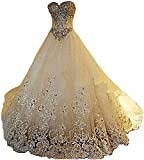 Yuxin Luxury Sweetheart Crystal Beaded Wedding Dress 2021 Princess Long Train Lace Ball Gown Bridal Dresses Ivory US2 (Apparel)