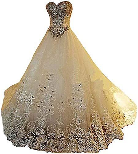 Yuxin Luxury Sweetheart Crystal Beads Wedding Dress 2021 Princess Long Train Lace Ball Gown Wedding Dress for Bride (Apparel)