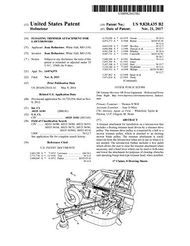 Floating trimmer attachment for lawnmowers: United States Patent 9820435 (English Edition)