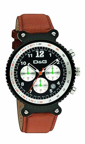 D&G Dolce&Gabbana DW0304 - Reloj cronógrafo de caballero de cuarzo con correa de piel marrón (cronómetro) - sumergible a 50 metros