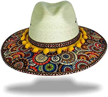 Women Sun Hat Mexican Palm Hat Colorful Floral ZAWADI Traditional Fedoras Purple