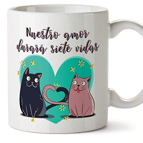 MUGFFINS Taza San Valentín (Te quiero) - Nuestro amor durará 7 vidas...