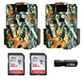 (2) Browning Strike Force HD PRO X (2019) Trail Game Cameras Bundle Includes 32GB Memory Cards and J-TECH Card Reader (20MP) | BTC5HDPX