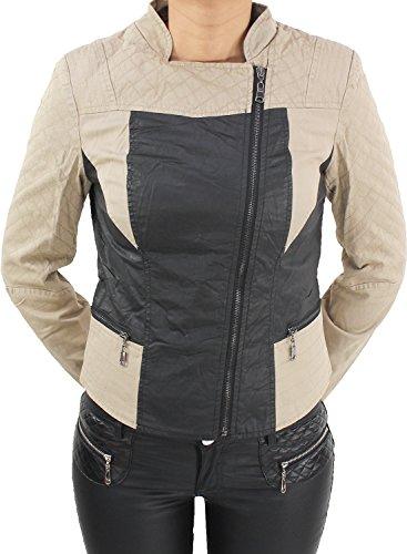 Damen Jacke Leder Optick Kunstlederjacke Übergangs Jacket Bikerjacke Blazer Blau Schwarz Beige Beige M/38