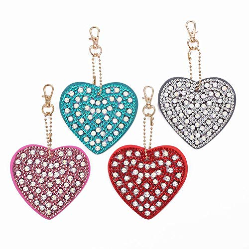 4pcs DIY 5D Diamond Painting Keychains Full Drill Diamond Painting Special Shaped Heart Key Chain Gifts