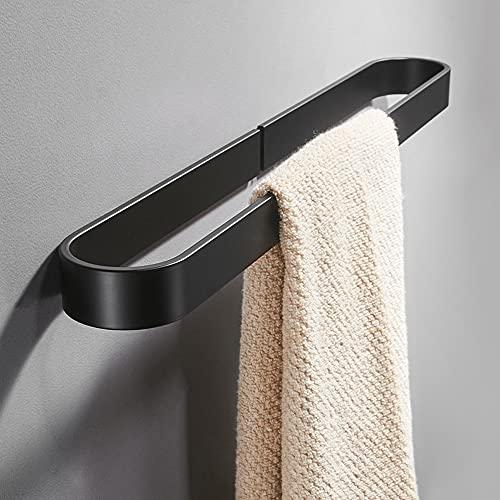 Hodzeed Handtuchhalter für Badezimmer Ohne Bohren - Selbstklebender Kleber Aluminium Handtuchstange Handtuchring Slipper Rack Schwarz 40CM