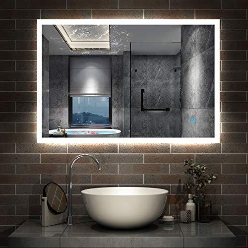 AicaSanitär LED Spiegel 90×70cm Badspiegel mit Beleuchtung Lichtspiegel Badezimmerspiegel Wandspiegel Touch-Schalter Antibeschlag IP44 Kaltweiß energiesparend