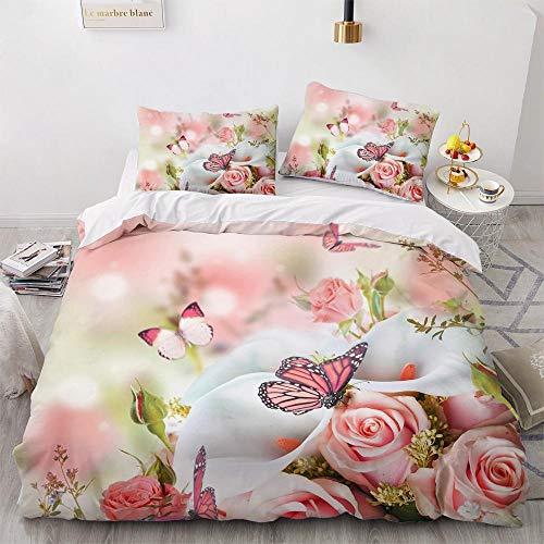 Funda Nordica Cama 135 Rosa Mariposa Amarilla Ropa De Cama 220x240 cm, Microfibra Suave, Funda de edredón con Cremallera, con 2 Fundas De Almohada 50x75 cm