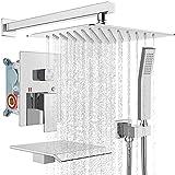 gotonovo Chrome Polised Rain Mixer Shower Faucet Set with Waterfall Tub Spout 10 inch Square...