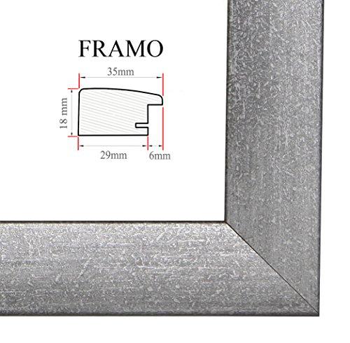 Framo fotolijst, 35 mm, op maat voor foto's van 10 cm x 10 - 150 cm, handgemaakt van MDF, met een onbreekbaar kunstglas en een stevige achtergrond, lijstbreedte: 35 mm